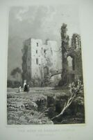 1830 Antique Print ~ The Keep of Raglan Castle, Monmouthshire - Gastineau