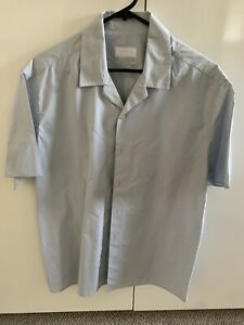 PRADA Pale Blue Short Sleeve Shirt Cotton 41/16 New Without Tags Just Crushed!