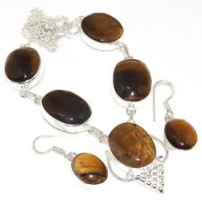 X3188 Tiger Eye 925 Sterling Silver Plated Necklace Earrings Set