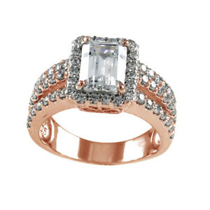2.1 ct Simulated Emerald Cut Halo Engagement Ring 18K Rose Gold Over