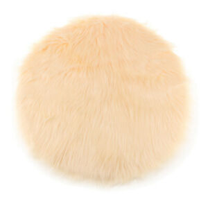 Fluffy Artificial Sheepskin Seat Pads 30cm Round Pad Floor Mats Washable