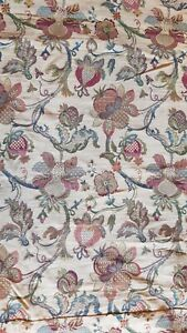 Huge heavyweight pair curtains pomegranate pattern beige red green heading vgc