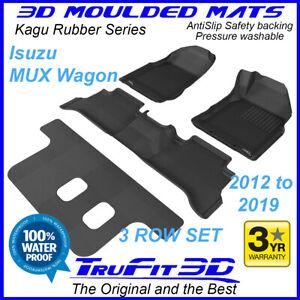 Suits ISUZU MUX MU-X Wagon 2012 - 2021 Genuine 3D Black Rubber Car floor Mats 3R