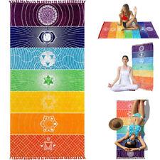 "59"" 39'' Rainbow Chakra Tapestry Stripe Towel Yoga Beach Mat Shawl Blanket Wide"