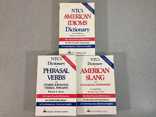 Lot of 3 NTC Books, American Idioms Dictionary, American Slang, Phrasal Verbs