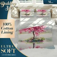 Red Pink Floral Flowers Colourful Doona Cover Set with 2x Matching Pillowcases