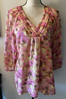 Sundance Floral  Pink Long Sleeve Silk Top Blouse Size Small S EUC ⭐️❤️