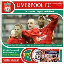 Liverpool 2002-03 Man City (Michael Owen) Football Stamp Victory Card #205