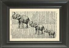ORIGINAL - Elephant Art Print on Vintage Dictionary Page - Nursery Wall Art 60B