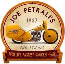 Vintage Joe Petrali Knuckelhead Motorcycle Metal Sign Man Cave Garage FRC071