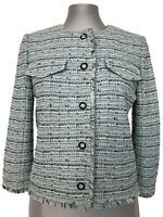 NEW, ST. JOHN MINT-GREEN TWEED BLAZER JACKET, 2, $1850