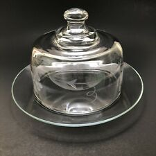 Arcoroc France Etched Glass 2-pc Cheese Dome Covered Serving Dish