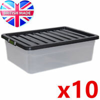 10 x 32L 32 Litre Underbed Large Plastic Storage Clear Box Stackable Container