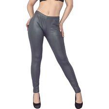 gummig weiche LEDER-LOOK LEGGINS in grau* XS 34 * Leggings* Kunstleder wetlook