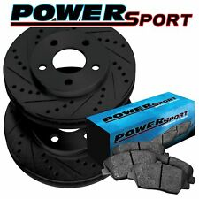 Fit 2011 Honda Accord Front PSport Black Drill Slot Brake Rotors+Ceramic Pads