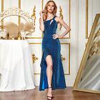 ANGEL FASHIONS Women One Shoulder Ruffles Split Long Prom Dress 504