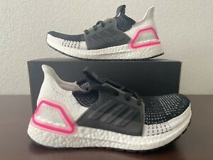 (NEW) ADIDAS UltraBOOST 19 Women's Shoes - Size 7.5 White / Pink/ Black EF1625