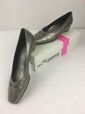 Ros Hommerson Women Dress Shoes Beauty Pewter Leather Low Heel Pump 7.5 N $98