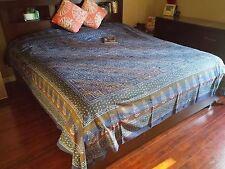 Handmade 100% Cotton Dabu Hand Block Print Tapestry Tablecloth Spread Blue Twin