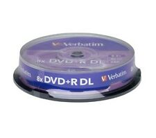 50 DVD+R VERBATIM 8X DL DUAL LAYER 8,5 GB Double XboX campane da 10 pezzi