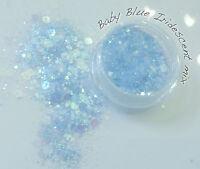 Multi size mix Nail art glitter & sequin Discs/ dots Baby Blue Iridescent