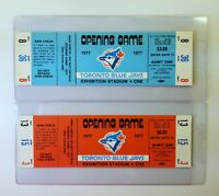 Opening Game Blue Tickets (2) 1977 Toronto Blue Jays Full Unused