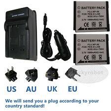 2X NP-50Battery&charger for Fujifilm Fuji X10 X20 XF1 F800EXR F900EXR 3DW3