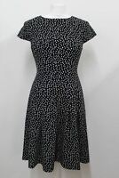 HOBBS Ladies Black Cap Sleeve Crew Neck Polka Dot Print Fit & Flare Dress UK10