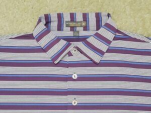 Peter Millar Summer Comfort Stretch Golf Polo Shirt Purple Striped Men's Large