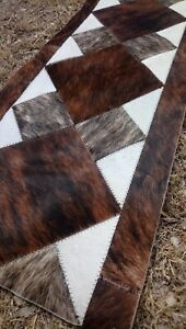 COWHIDE TABLE RUNNER PATCHWORK CARPET AREA Leather RUG Cow hide BRINDLE - 09
