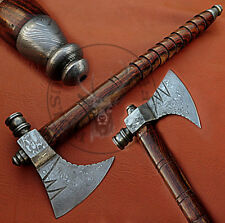 CUSTOM HAND MADE DAMASCUS STEEL PIPE TOMAHAWK, HATCHED AXE  / ROSE WOOD HANDLE