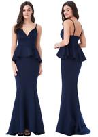 Goddess London Navy V Neck Fishtail Peplum Maxi Evening Dress Prom Party Ball