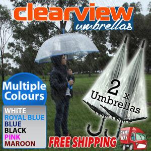 2x Clear Transparent 53cm Rain Umbrella Parasol PVC Dome Wedding Party Favor