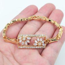 18K Yellow Gold Filled Women Clear Crystal Topaz Gems Square Bracelet Jewelry