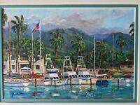 Michael J. Lavery Signed Lithograph, Maui Life, Matted, Lahaina Harbor Hawaii