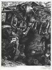 DON QUICHOTE - Werner LUFT 1940 - VERZAUBERUNG im OCHSENKARREN - Handsigniert