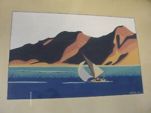 1940's Original Gouache Sailing Painting, Betty Winton, on Period wood framed