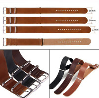 Mens Genuine Leather Army Military Watch Strap Band 18/20/22mm Black Brown