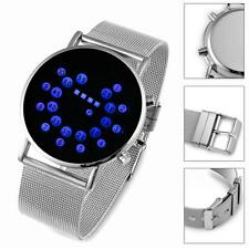 Wrist Watch Fashion Men Sports Round Stainless Steel Dial Digital LED Light TL