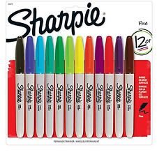 NIB 12 CT (ASSORTED COLORS) SHARPIE FINE PERMANENT MARKERS