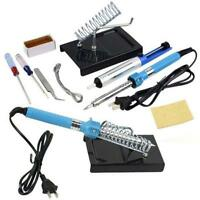 9in1 40W DIY Electric Solder Starter Tool Kit Set & Iron Stand Desolder Pump SK