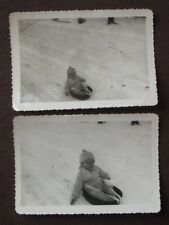 10 MONTH OLD BABY SLEDDING IN A ROASTING POT SLED Vintage 1940'S PHOTO'S