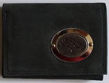Black Leather Wallet License NFL Football Denver Broncos Medallion Trifold