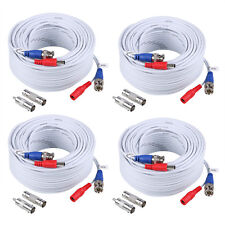 Annke 4x 30M 100ft Bnc Video Power White Cable Cord Extention Hd Connector Wires