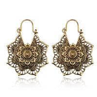 Gold Silver Women Vintage Mandala Flower Pendant Drop Dangle Hook Boho Earrings