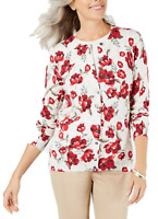 Karen Scott Women's Small Floral-Print Cardigan Sweater Tan Red New with Tag #14