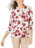 Karen Scott Women's Large Floral-Print Cardigan Sweater Tan Red New with Tag #24