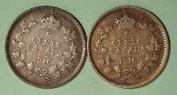 1916 + 1916  Canada Silver 5 Cents - INV#S-269