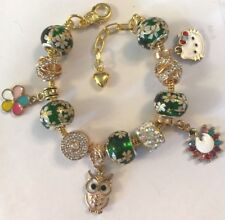 ❤️European CHARM BEADS BRACELET ~ GOLD Plated Beads & Chain ~ FANCY DESIGN  #1❤️
