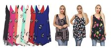 Womens Plus Size Butterfly Print Sleeveless Chiffon Line Strappy Vest Top 14-28